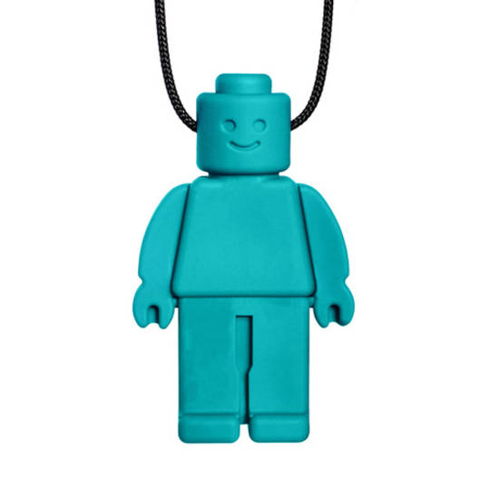 Chew Dude® Chewable Figurine Necklace - Teal Medium