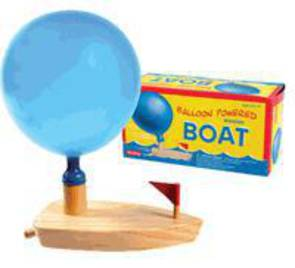 Balloon Powered Wooden Boat.
